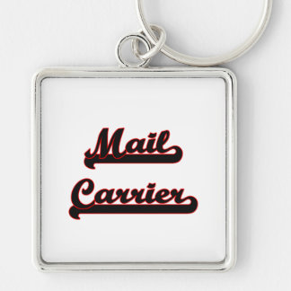 Mail Carrier Classic Job Design Silver-Colored Square Key Ring