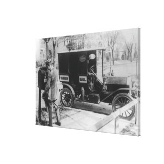 """Mail Carrier with """"United Mail"""" Automobile Canvas Print"""