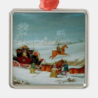 Mail Coach in the Snow Christmas Ornament
