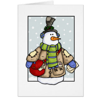 mail delivery snowman greeting card