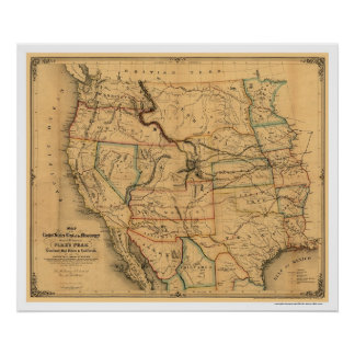 Mail Route Railroad Map 1859 Poster