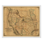 Mail Route Railroad Map 1859 Posters