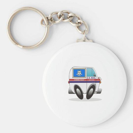 Mail Truck CONNECTICUT Basic Round Button Key Ring