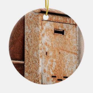 Mailbox rusty outdoors round ceramic decoration