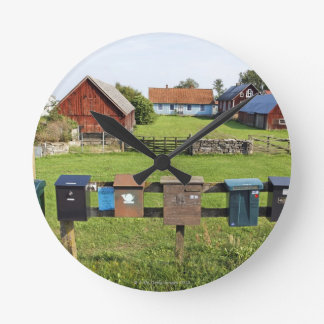 Mailboxes and Houses Round Clock