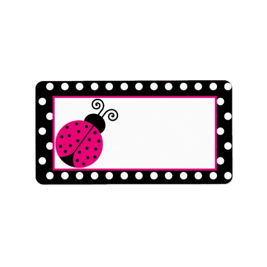 Mailing Address Black Spring Time Lady Bug Address Label