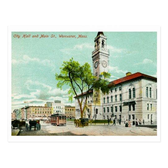 Main St., Worcester, MA Vintage Postcard