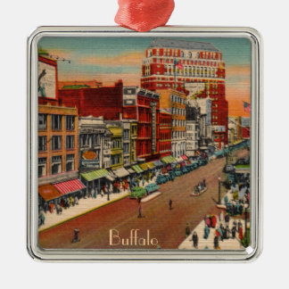 Main Street - Buffalo, NY Vintage Silver-Colored Square Decoration
