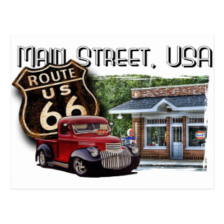 Main Street Hot Rod Postcard