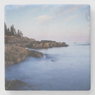 Maine, Acadia National Park, Moonset Stone Coaster