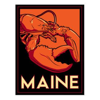 Maine art deco retro travel poster post card