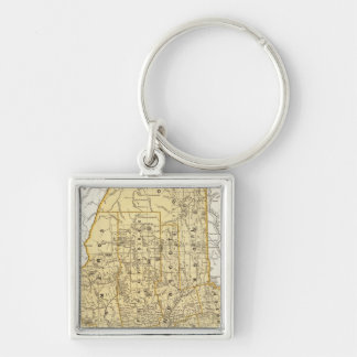 Maine Atlas Map Silver-Colored Square Key Ring