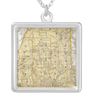 Maine Atlas Map Silver Plated Necklace