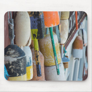 Maine, Bar Harbor. Colorful lobster trap buoys Mouse Mat