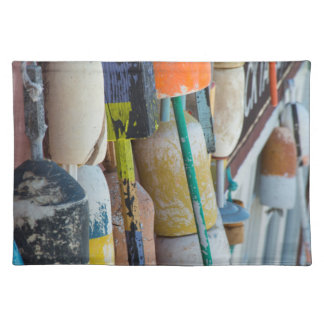Maine, Bar Harbor. Colorful lobster trap buoys Placemat