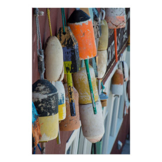 Maine, Bar Harbor. Colorful lobster trap buoys Poster