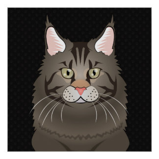 Maine Coon Cat Cartoon Paws Print