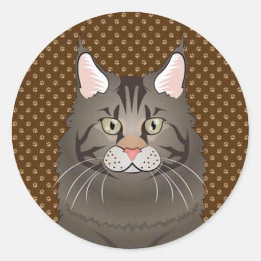 Maine Coon Cat Cartoon Paws Round Sticker