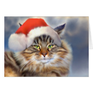 Maine Coon Cat Christmas Portrait Card