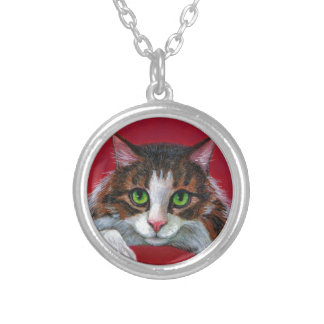 Maine Coon Cat Red Pillow Round Pendant Necklace