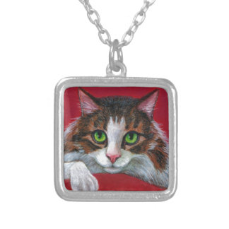 Maine Coon Cat Red Pillow Square Pendant Necklace