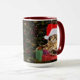 Maine Coon Cat Santa & Gifts Christmas Tree Behind Mug