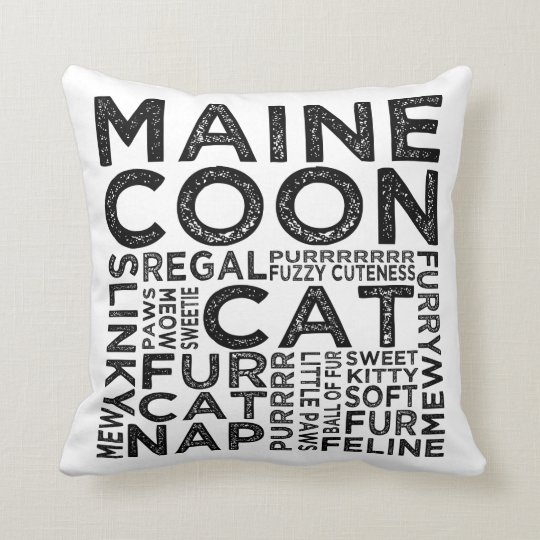 Maine Coon Cat Typography Cushion