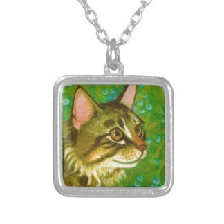 Maine Coon Cat with Mistletoe Square Pendant Necklace