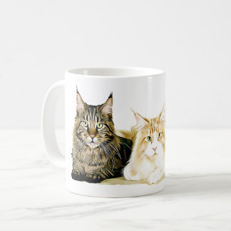 Maine Coon Cats Kittens, Modern Cat Art Coffee Mug
