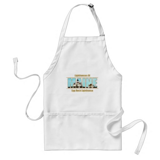 Maine Egg Rock Lighthouse Image Text Aprons