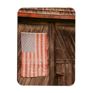 Maine, Faded American flag on door of old barn Rectangular Photo Magnet
