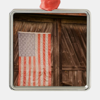Maine, Faded American flag on door of old barn Silver-Colored Square Decoration