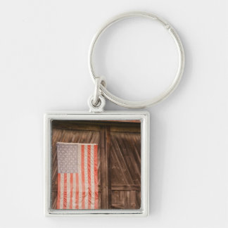 Maine, Faded American flag on door of old barn Silver-Colored Square Key Ring