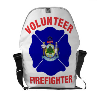 Maine Flag Volunteer Firefighter Cross Courier Bag