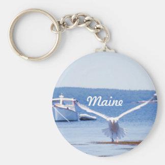 Maine Harbor Basic Round Button Key Ring
