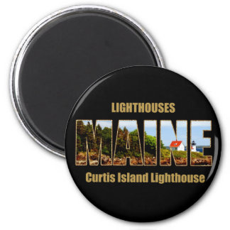 MAINE Image Text Series - Curtis Island Lighthouse 6 Cm Round Magnet