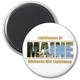 MAINE Image Text - Whitlocks Mill Lighthouse 6 Cm Round Magnet