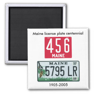 Maine license plate centennial square magnet