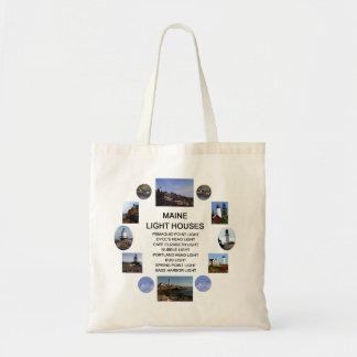 Maine Light Houses Tote Bag