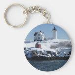 Maine Lighthouse 4 Basic Round Button Key Ring