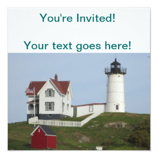 Maine Lighthouse 5.25x5.25 Square Paper Invitation Card