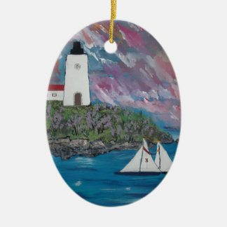 Maine Lighthouse Painting Christmas Ornament