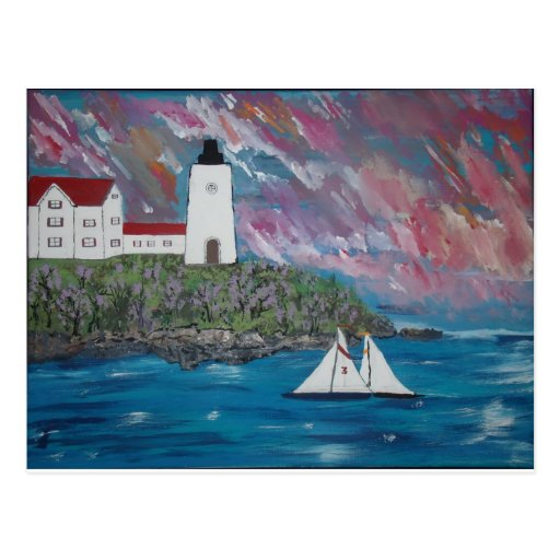 Maine Lighthouse Painting Post Cards