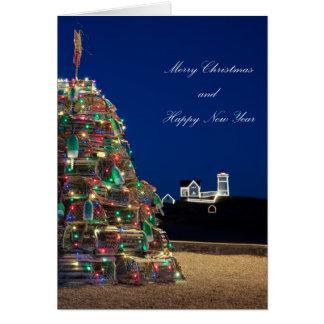 Maine Lobsta Trap Nubble Light Christmas Card Tall