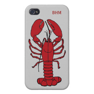 Maine Lobster Optional Initials Custom in Red iPhone 4/4S Cover