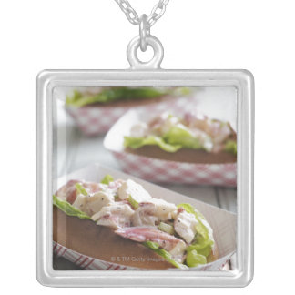 Maine Lobster Roll Silver Plated Necklace