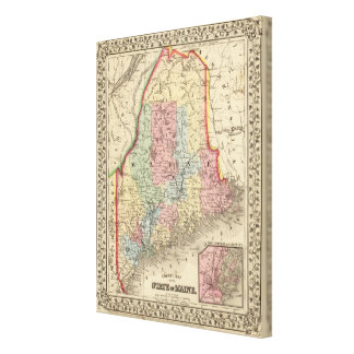 Maine Map by Mitchell Canvas Print