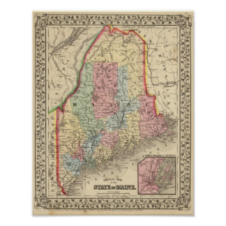 Maine Map by Mitchell Poster