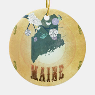 Maine Map With Lovely Birds Christmas Ornament
