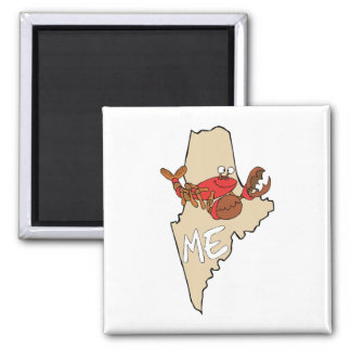 Maine ME Cartoon Map with Lobster Art Magnet